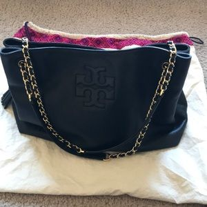 Black and gold leather Tory Burch tote